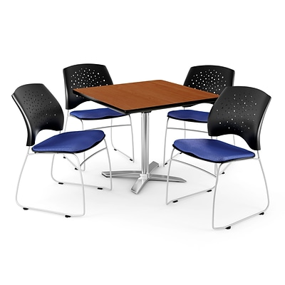 OFM 36 Square Flip-Top Cherry Table With 4 Chairs, Royal Blue