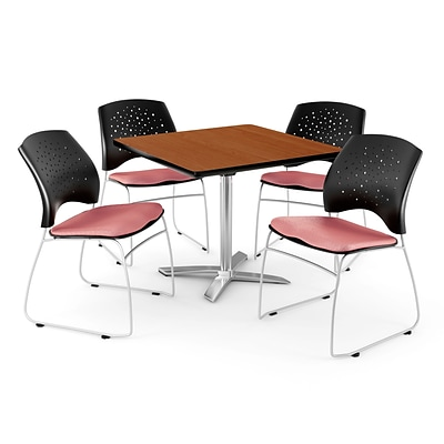OFM 42 Square Flip-Top Cherry Table With 4 Chairs, Coral Pink