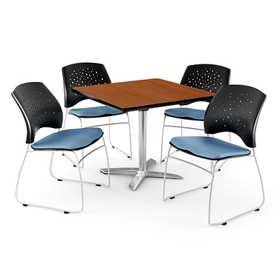 OFM 42 Square Flip-Top Cherry Table With 4 Chairs, Cornflower Blue