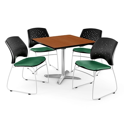 OFM 42 Square Flip-Top Cherry Table With 4 Chairs, Shamrock Green