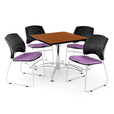 OFM 36 Square Multi-Purpose Cherry Table With 4 Chairs, Plum