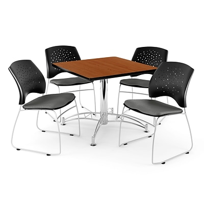 OFM 36 Square Multi-Purpose Cherry Table With 4 Chairs, Gray