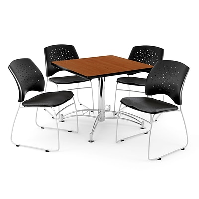 OFM 42 Square Multi-Purpose Cherry Table With 4 Chairs, Black