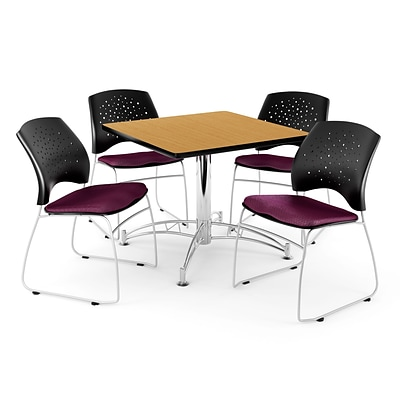 OFM 42 Square Multi-Purpose Oak Table With 4 Chairs, Burgundy