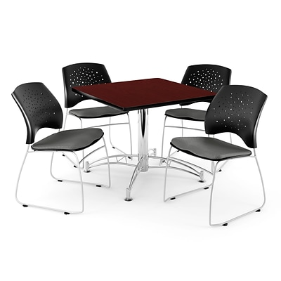OFM 42 Square Multi-Purpose Mahogany Table With 4 Chairs, Gray