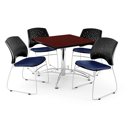 OFM 36 Square Multi-Purpose Mahogany Table With 4 Chairs, Navy