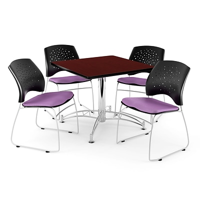 OFM 42 Square Multi-Purpose Mahogany Table With 4 Chairs, Plum