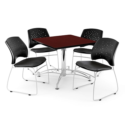OFM 42 Square Multi-Purpose Mahogany Table With 4 Chairs, Black