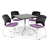 OFM 42 Square Multi-Purpose Gray Nebula Table With 4 Chairs, Plum