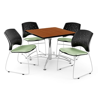 OFM 42 Square Multi-Purpose Cherry Table With 4 Chairs, Sage Green