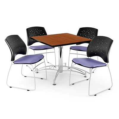 OFM 36 Square Multi-Purpose Cherry Table With 4 Chairs, Lavender