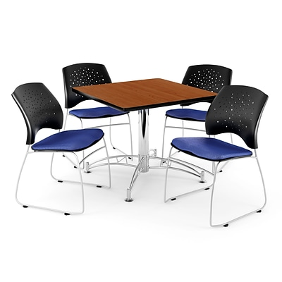 OFM 42 Square Multi-Purpose Cherry Table With 4 Chairs, Royal Blue