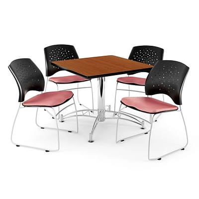 OFM 42 Square Multi-Purpose Cherry Table With 4 Chairs, Coral Pink