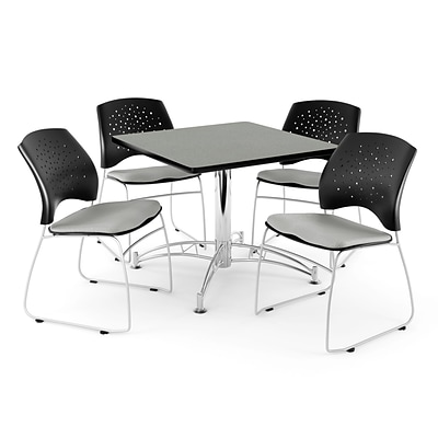 OFM 36 Square Multi-Purpose Gray Nebula Table With 4 Chairs, Putty