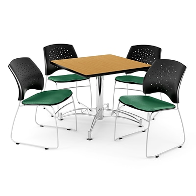 OFM 36 Square Multi-Purpose Oak Table With 4 Chairs, Shamrock Green