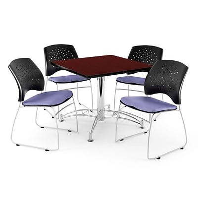 OFM 36 Square Multi-Purpose Mahogany Table With 4 Chairs, Lavender