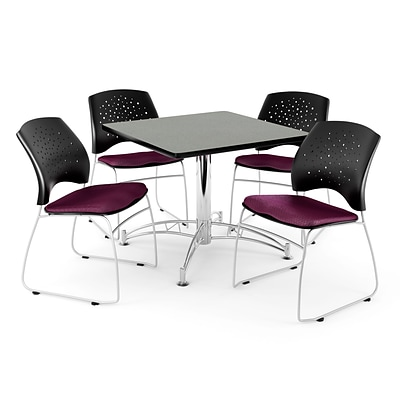 OFM 42 Square Multi-Purpose Gray Nebula Table With 4 Chairs, Burgundy