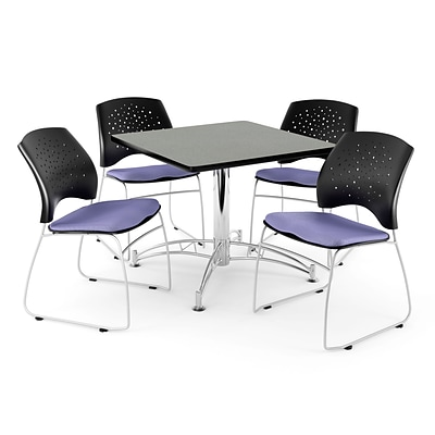OFM 36 Square Multi-Purpose Gray Nebula Table With 4 Chairs, Lavender