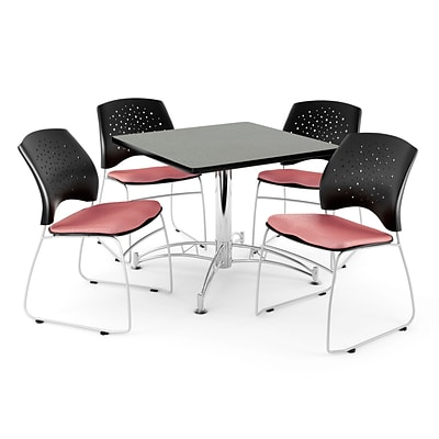 OFM 36 Square Multi-Purpose Gray Nebula Table With 4 Chairs, Coral Pink