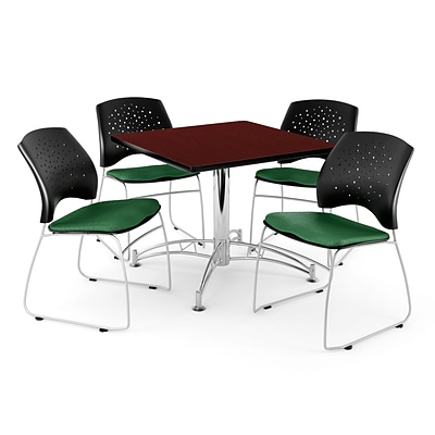 OFM 42 Square Multi-Purpose Mahogany Table With 4 Chairs, Forest Green