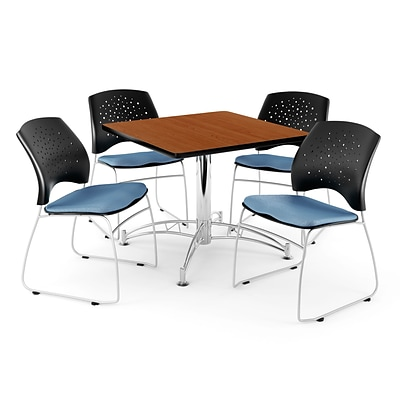 OFM 42 Square Multi-Purpose Cherry Table With 4 Chairs, Cornflower Blue