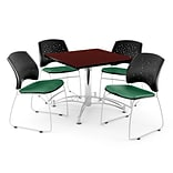 OFM 36 Square Multi-Purpose Mahogany Table With 4 Chairs, Shamrock Green
