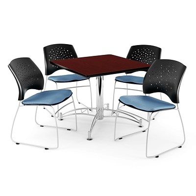 OFM 36 Square Multi-Purpose Mahogany Table With 4 Chairs, Cornflower Blue