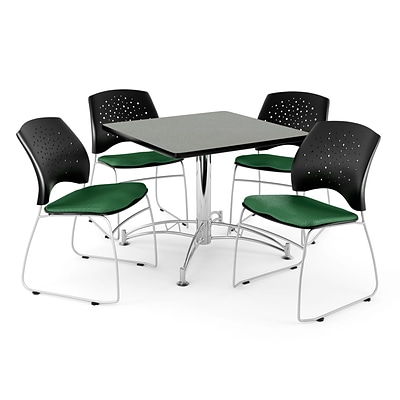 OFM 42 Square Multi-Purpose Gray Nebula Table With 4 Chairs, Forest Green