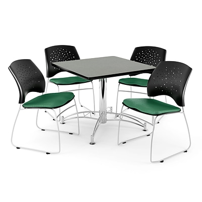 OFM 36 Square Multi-Purpose Gray Nebula Table With 4 Chairs, Shamrock Green