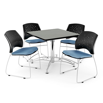 OFM 42 Square Multi-Purpose Gray Nebula Table With 4 Chairs; Cornflower Blue