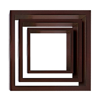 Nexxt PN09424-8INT Set of 3 Brown Wooden Cubby Wall Shelf