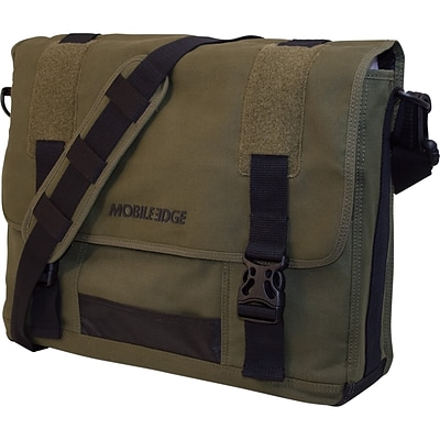 Mobile Edge Eco Friendly Canvas Messenger Bag For Laptops Up to 17.3, Green