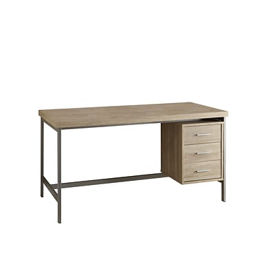 Monarch® Reclaimed Hollow-Core Wood/Silver Metal Office Desk, Natural