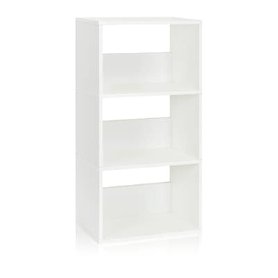Way Basics Triplet 3 Shelf ZBoard Recycled Paperboard Bookcase White