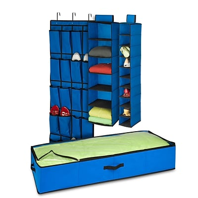 Honey-Can-Do 4-Piece Room Velcro-Style Straps & Clear Vinyl Organization Set, Blue/Black