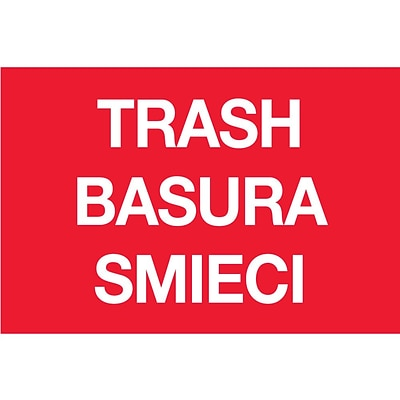Tape Logic™ 2 x 3 TRASH/BASURA/SMIECI Inventory Label, Red, 500/Roll