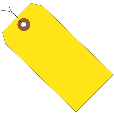 BOX 4 3/4 x 2 3/8 #5 Pre-Wired Plastic Shipping Tags, Yellow