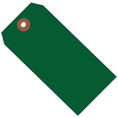 BOX 4 3/4 x 2 3/8 #5 Plastic Shipping Tags, Green