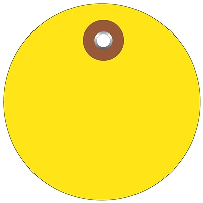 BOX 3 Plastic Circle Tags, Yellow