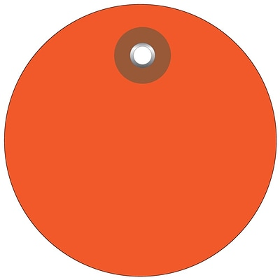 BOX 3 Plastic Circle Tags, Orange