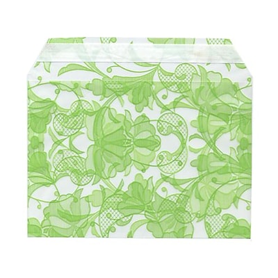 JAM Paper® Cello Sleeves, A7, 5 1/16 x 7 3/16, Green Lace, 100/pack (2785507)