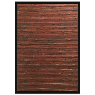 Anji Mountain Cobblestone Mahogany Brown with Black Border Area Rug Bamboo 4 x 6 Transitional