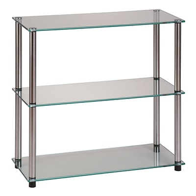 Convenience Concepts Classic Tempered Glass & Stainless Steel Bookcase