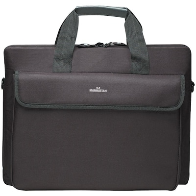 "Manhattan® London Top Loading Briefcase For Up to 15.6"" Notebook Computer, Black"