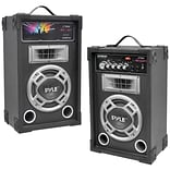 Pyle® Pro PSUFM835A Dual 800 W Disco Jam Powered Two-Way PA Speaker System With Aux In, Black