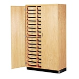DWI Epoxy, Oak Wood Tote Tray Storage Cabinet 84H x 48W x 22D