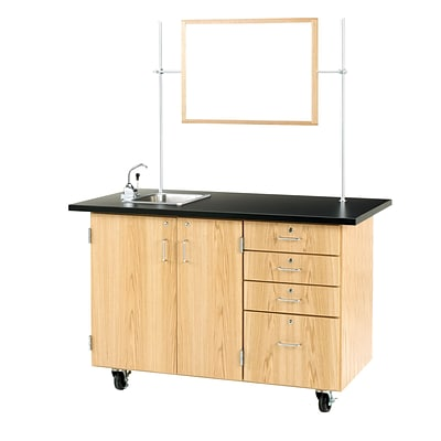 DWI Oak Wood Demonstration Center with Sink and Fixtures 36H x 54W x 30D