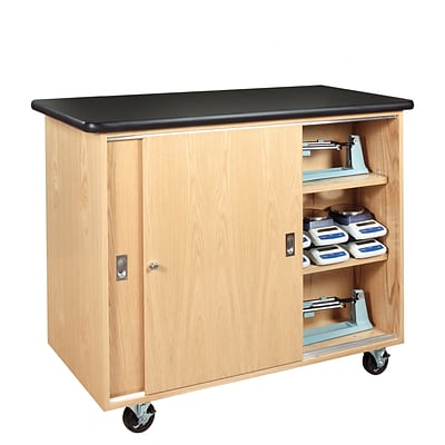 DWI Mobile Balance Storage Cabinet Solid Oak and Oak Veneers Storage Cabinet
