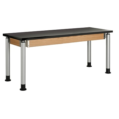 DWI Science Table 27H x 72W x 24D Solid Oak ChemGuard