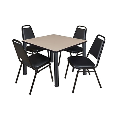Regency Cain 36 Square Breakroom Table- Beige & 4 Restaurant Stack Chairs- Black